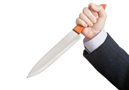 holding a knife: Murderer business man hand holding sharp steel kitchen knife weapon
