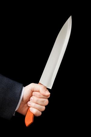 slayer: Murderer business man hand holding sharp steel kitchen knife weapon