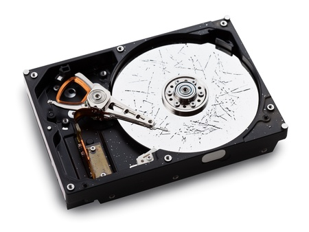 Information storage data loss - broken computer technology hard disk drive surface Stockfoto
