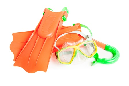 Scuba water diving equipment - snorkel mask and flippers white isolated