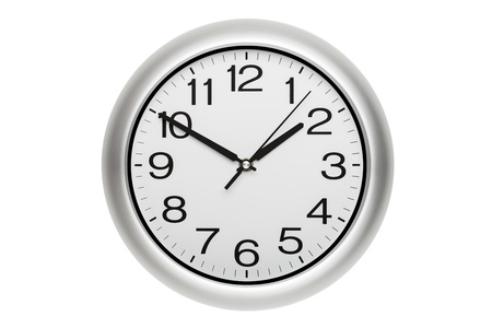 Large office wall clock showing time isolated on white photo