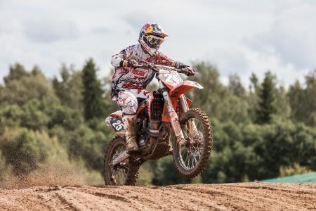 SEMIGORJE, RUSSIA - JULY 22: Grand Prix of Russia of FIM Motocross World Championship MX1 and MX2 Series on July 22, 2012 in Semigorje, Russia Stock Photo - 14542340