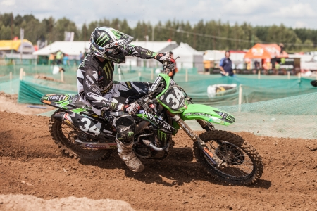 SEMIGORJE, RUSSIA - JULY 22: Grand Prix of Russia of FIM Motocross World Championship MX1 and MX2 Series on July 22, 2012 in Semigorje, Russia