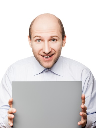 pelade: Bald smiling man hand holding grey empty blank card