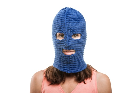 Russian protest movement concept - woman wearing balaclava or mask on head white isolated Stock Photo - 15211856