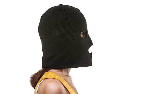 Russian protest movement concept - woman wearing balaclava or mask on head white isolated photo