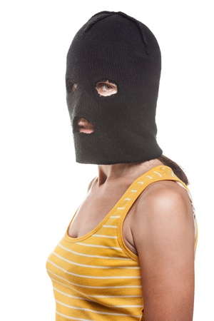 balaclava: Russian protest movement concept - woman wearing balaclava or mask on head white isolated