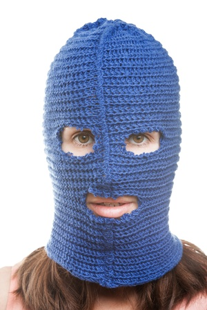 Russian protest movement concept - woman wearing balaclava or mask on head white isolated Stock Photo - 14966001