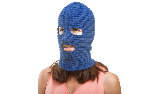 Russian protest movement concept - woman wearing balaclava or mask on head white isolated Stock Photo - 14965985