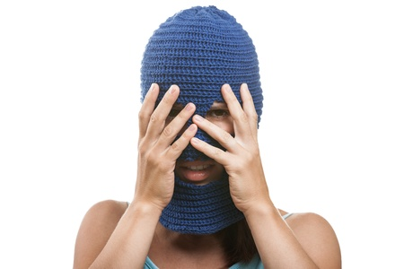 Russian protest movement concept - woman wearing balaclava or mask on head hiding or covering face white isolated Stock Photo - 14965974
