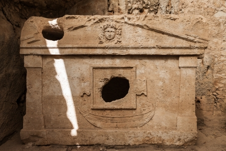 crypt: Ancient harbour monumental tombs sarcophagus at Turkey Olympos city ruins