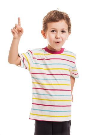 Amazed or surprised child boy gesturing exclamation point finger sign
