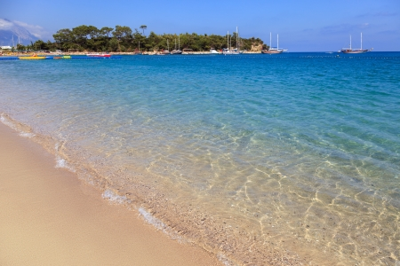 turkey beach: Summer vacations - blue Mediterranean sea and Moonlight park sand beach resort of Turkey Kemer