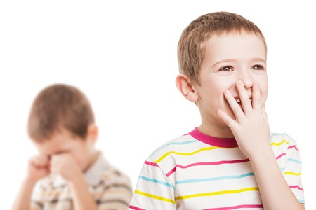 Children cry: Two little displeased child boy brothers in family conflict quarrel Kho ảnh