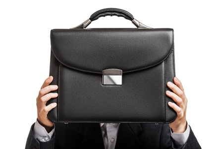 Business man in black suit hand holding briefcase white isolated photo