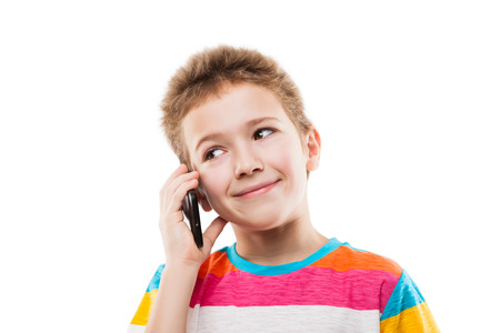 smiling teenagers: Beauty smiling child boy hand holding mobile phone or talking smartphone white isolated