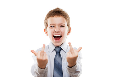 Little smiling young businessman child boy hand gesturing middle finger obscene sign for negative attitude white isolated