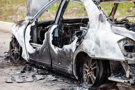 junk car: Road wreck accident or arson fire burnt wheel car vehicle junk