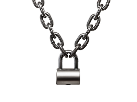 lift lock: Hardened steel heavy industry cargo lifting metal chain locked on padlock white isolated Stock Photo