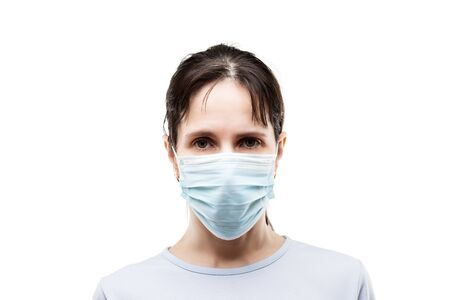 Human population virus, infection, flu disease prevention and industrial exhaust emissions protection concept - beauty young woman wearing respiratory protective medical mask white isolated Stockfoto
