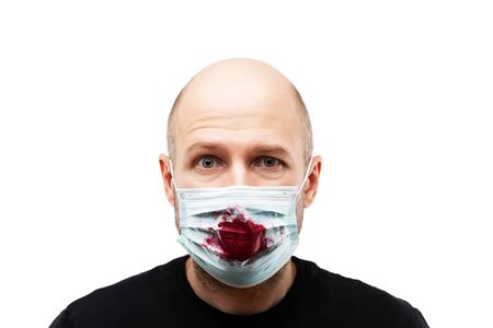 Human population virus, infection, flu disease prevention and industrial exhaust emissions protection concept - bald head man wearing bloody cough respiratory protective medical mask white isolated