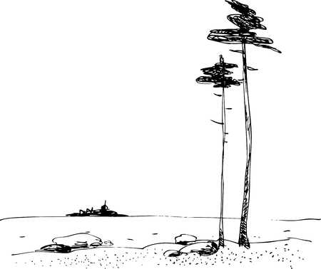 black and white drawing of the northern landscape