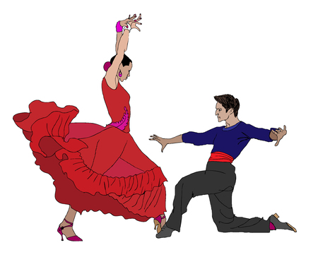 color drawing of a couple dancing flamenco