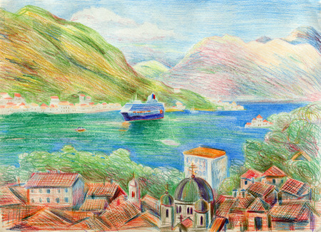 Colored landscape of the Mediterranean city of Kotor