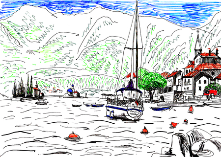 colored drawing of a seaside dock with boats 免版税图像