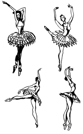 black and white drawing of dancing ballerinas