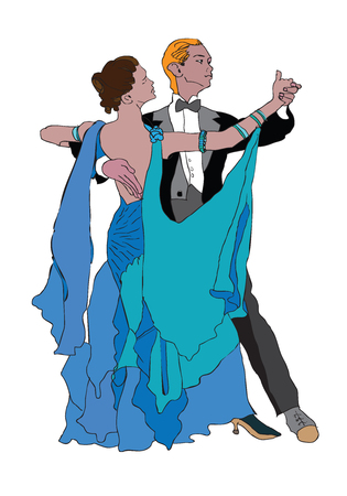color drawing of dancing couple
