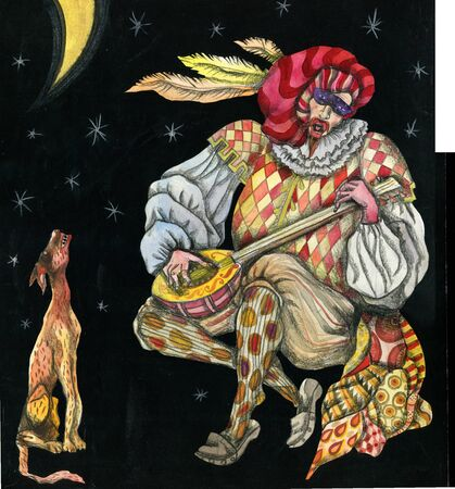 colored drawing singing Harlequin with a dog 免版税图像