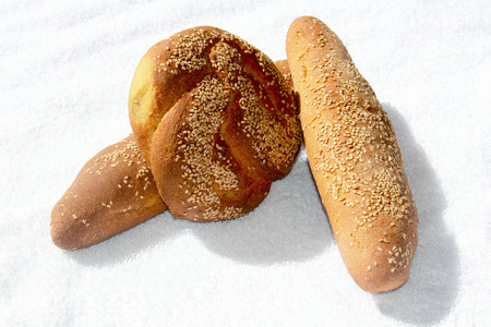 in particular: A special view of a particular bread made in sicily Stock Photo