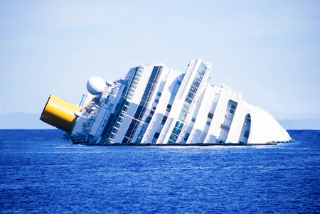 ships at sea: dead ship view tragic and sad Stock Photo