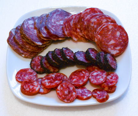 salame: italian salame as finger food for happy hours Stock Photo
