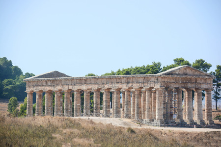 segesta: entire temple of segesta in sicily
