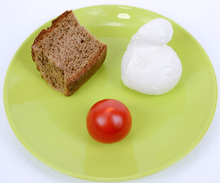 mediterranean diet italian brown bread tomato and mozzarella photo