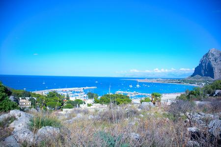 rare rocks: view of gulf of san vito lo capo in Sicily