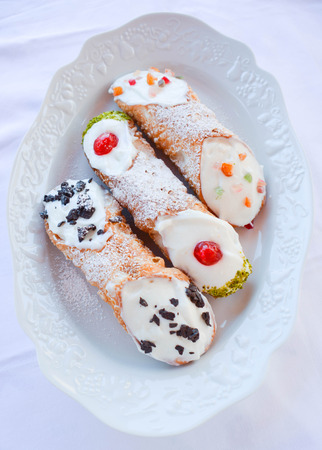 greediness: real cannoli freshly made according ancient tradition