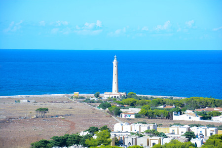 golfo: lighthouse at San Vito Lo Capo Sicily Italy Stock Photo