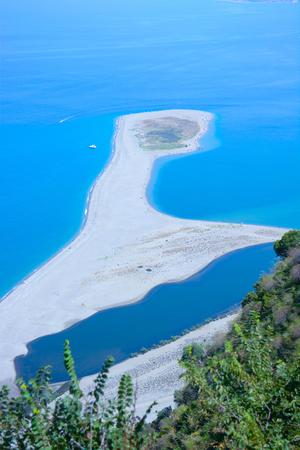 rare view of isthmus of tindari beach in sicily