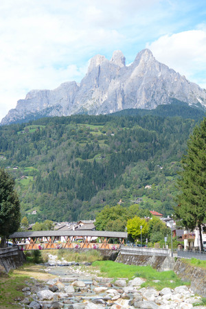 martino: view of pale di san martino mountains at dolomiti italy