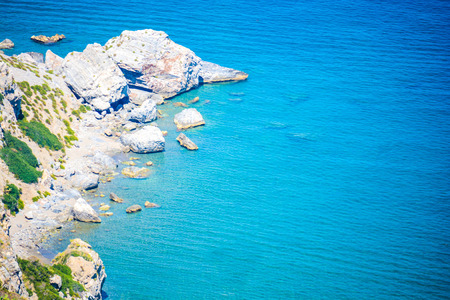 beauties: rare view of tindari hidden cliff and beach in sicily Stock Photo