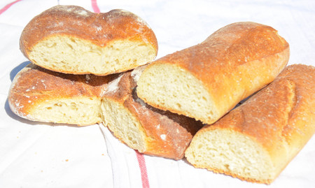 basic food: really natural bread made with only wheat flour and water Stock Photo