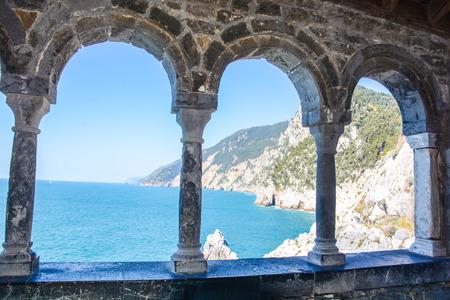 rare rocks: rare view of portovenere cliff in italy