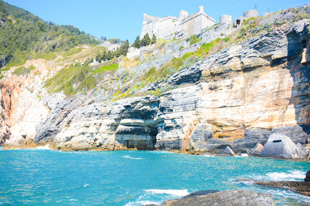 byron: rare view of lord byron cave at portovenere italy Stock Photo