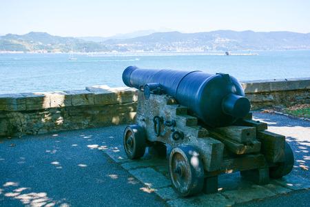cannon gun: ancient cannon for castel and coast defense Stock Photo