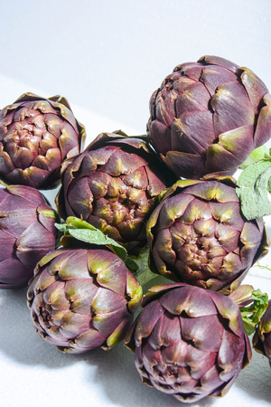 entrees: winter artichokes freshly picked from Italian countryside Stock Photo