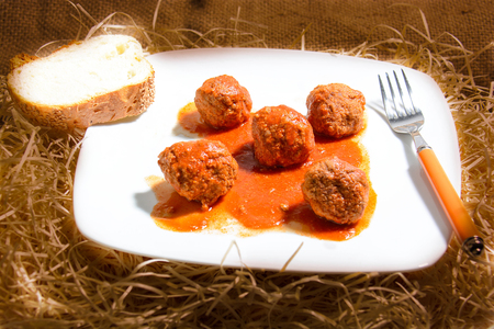 Meatballs Italian  polpette fine cuisine with tomato sauce Stock Photo