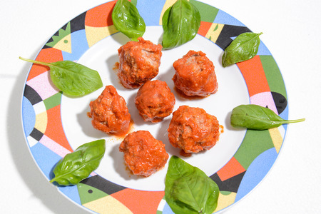 Meatballs Italian fine cuisine with tomato sauce
